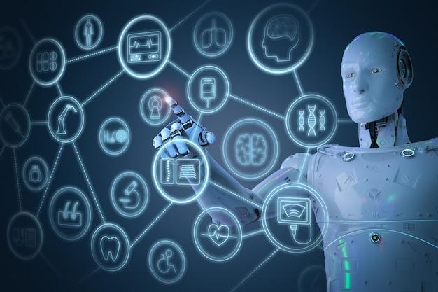 Medisch technologieconcept met 3d-rendering ai-robot die werkt met medische hud-interface