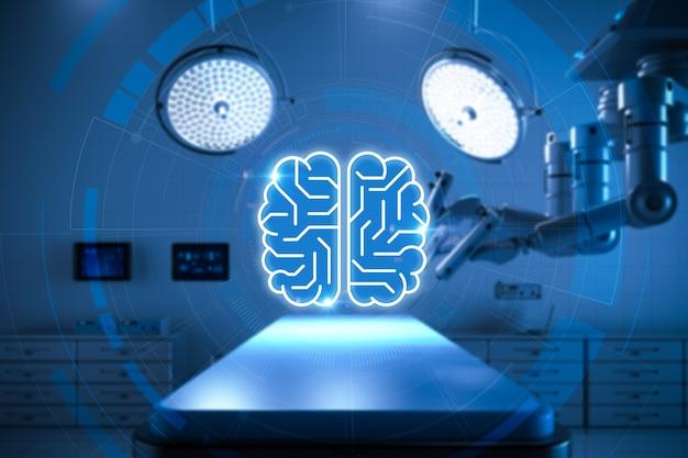Medisch technologieconcept met 3d-rendering chirurgierobot en circuitbrein in operatiekamer