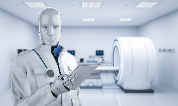 Medisch technologieconcept met 3d-rendering doktersrobot met mri-scanmachine