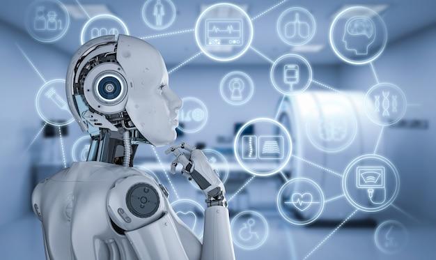 Medisch technologieconcept met 3d-rendering vrouwelijke cyborg of robot die werkt met hud of grafisch display