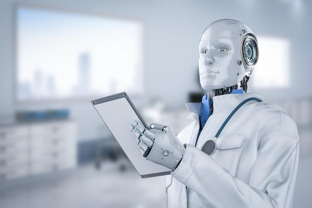 Medisch technologieconcept met 3d teruggevende artsrobotdiagnose in het ziekenhuis