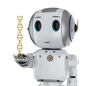 Medisch technologieconcept met 3d teruggevende robot die dna-helix houdt