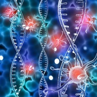 Medische achtergrond met dna-strengen en abstracte viruscellen
