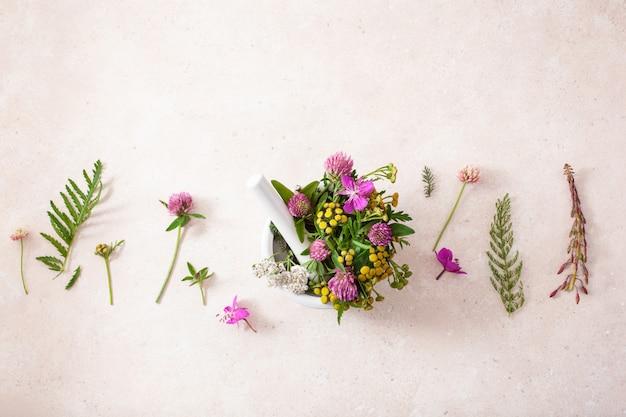 Medische bloemenkruiden in mortel. klaver duizendblad boerenwormkruid