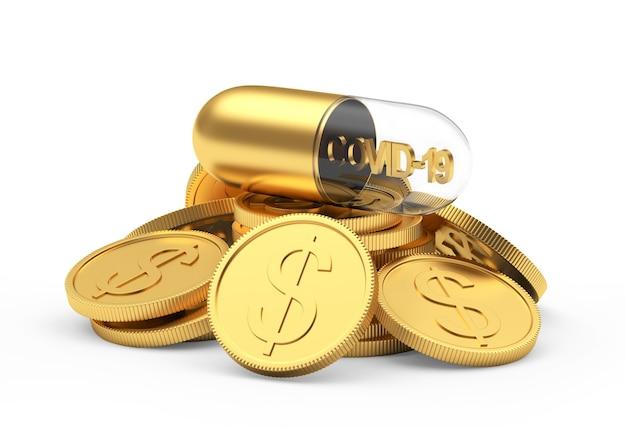 Medische capsule met covid-19 icoon op een stapel gouden munten