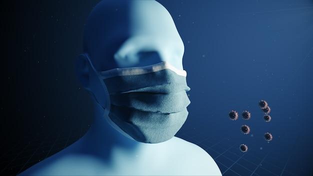 Medische conceptanimatie die het belang van het dragen van medische maskers laat zien