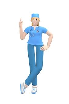 Medische karakter jonge witte vrouwelijke arts wijsvinger omhoog. het concept aandacht, gevaar, is belangrijk. cartoon persoon