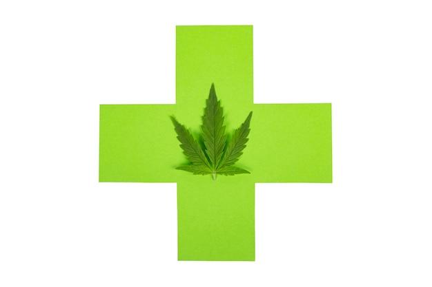 Medische medicinale marihuana, groen kruis en cannabisblad geïsoleerd op een witte achtergrond.