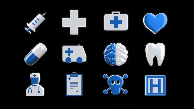 Medische pictogrammen - 3d illustratie