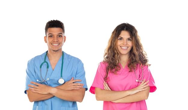 Medische professionals met kleurrijke uniformen geïsoleerd