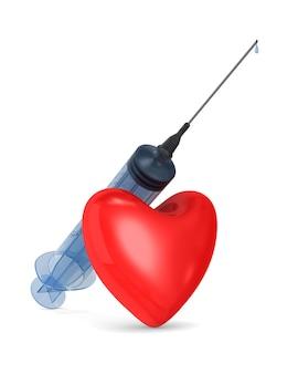 Medische spuit en hart. afgelegen, 3d-rendering