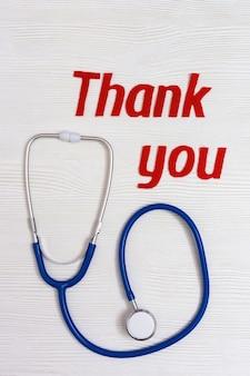 Medische stethoscoop, tekst bedankt