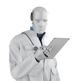 Medische technologie concept met 3d-rendering arts robot met wit pak geïsoleerd op wit
