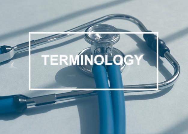 Medische terminologie woord op stethoscoop geneeskunde termen concept