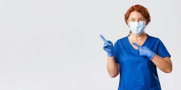 Medische werkers covid pandemie coronavirus concept glimlachend gelukkige vrouwelijke arts vrouw verpleegster in gezicht m...