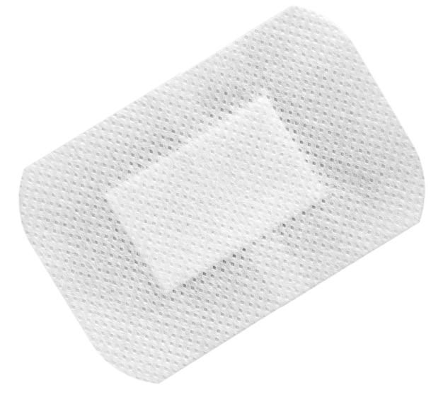 Medische zelfklevende pleister, geïsoleerd op wit