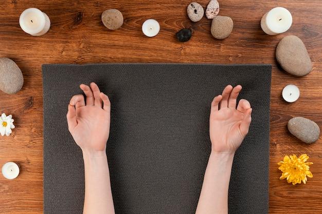 Meditatiesessie bovenaanzicht