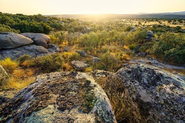 Mediterraan rotsachtig groen landschap met zonnevlam.