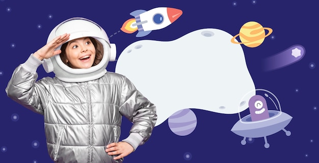 Medium shot meisje in ruimtepak