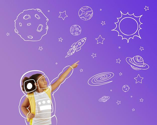 Medium shot meisje met ruimtethema