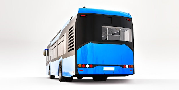 Mediun stedelijke blauwe bus op een witte geïsoleerde achtergrond. 3d-rendering.
