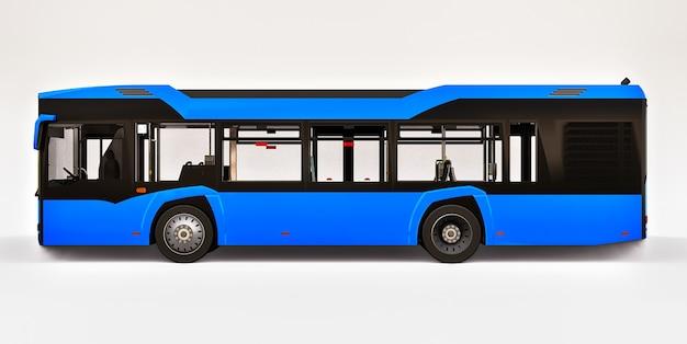Mediun stedelijke blauwe bus op een witte geïsoleerde achtergrond