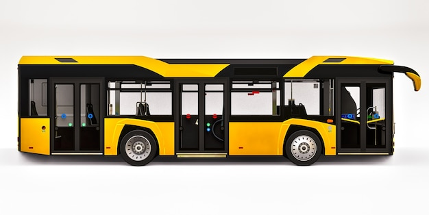 Mediun stedelijke gele bus op een wit oppervlak
