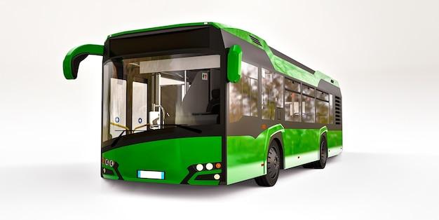 Mediun stedelijke groene bus op een witte achtergrond. 3d-rendering.