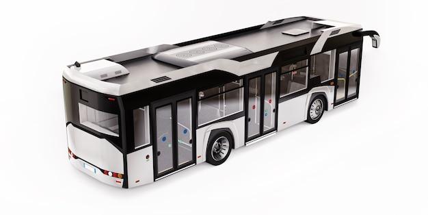 Mediun stedelijke witte bus op een witte geïsoleerde achtergrond. 3d-rendering.