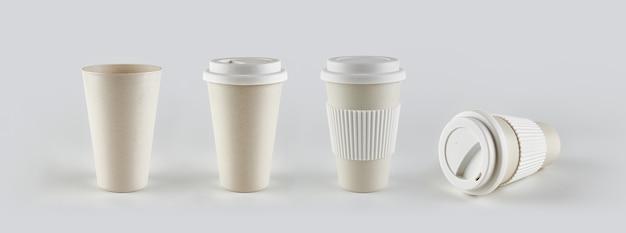 Meeneem koffiekopjes gemaakt van recyclebaar materiaal en wit deksel