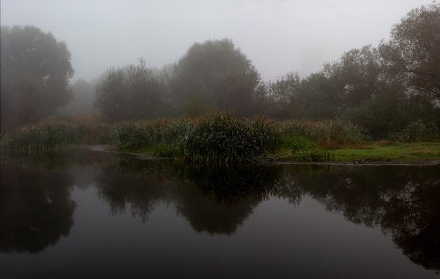 Meer in de mist van reflectie