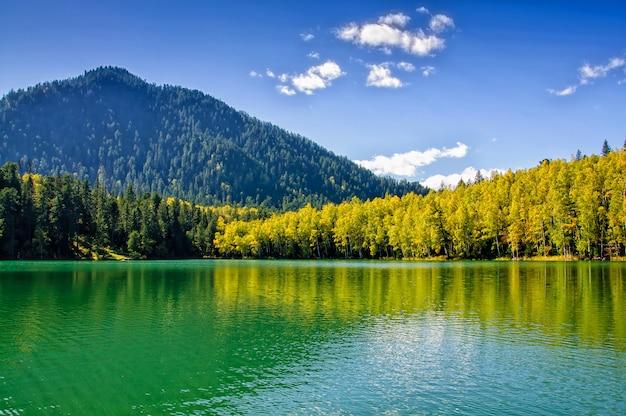 Meer van siberië van de bergherfst het groene met bezinning