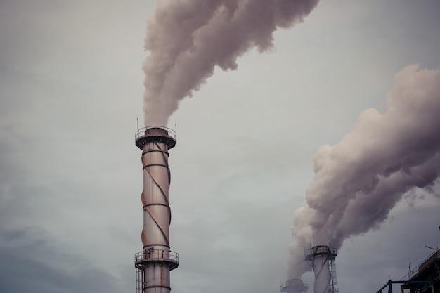 Meerdere biomassacentrales van rietpulp vernietigt schoorstenen emissie koolstofdioxidevervuiling