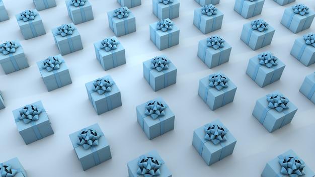 Meerdere blauwe geschenkdozen georganiseerd over blauwe achtergrond