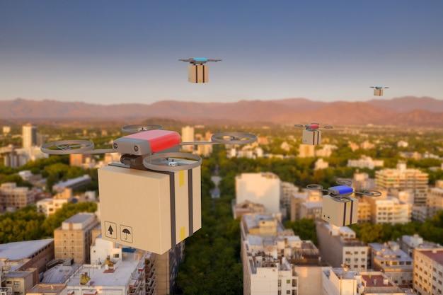 Meerdere drones vliegen over een stad met kartonnen dozen. drone levering concept.