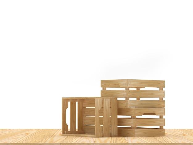 Meerdere lege houten kisten