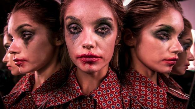Meervoudig spiegeleffect van vrouw poseren vanuit verschillende invalshoeken