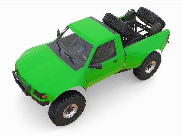 Meest geprepareerde groene sportrace-truck voor het woestijnterrein. 3d illustratie