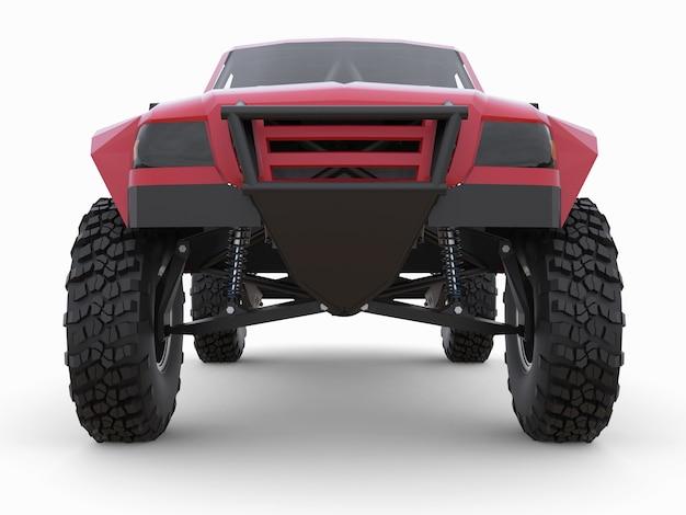 Meest geprepareerde rode sportracewagen voor het woestijnterrein.