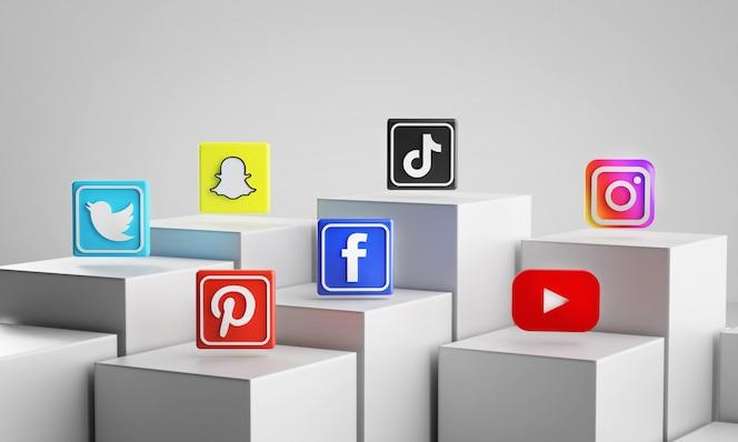 Meest populaire social media iconen op witte blokjes