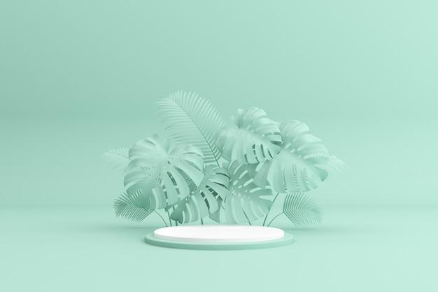 Meetkunde podium met groene plant