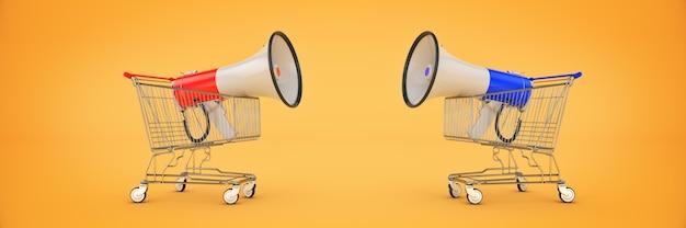 Megafoon geïsoleerd winkelen aanbod concept 3d-rendering