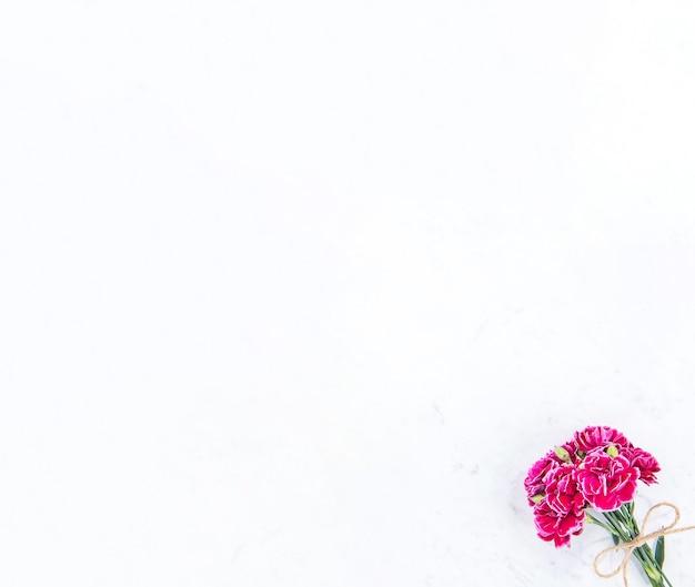Mei moederdag fotografie - mooie bloeiende anjers bos gebonden door strik geïsoleerd op een heldere moderne tafel, kopie ruimte, plat leggen, bovenaanzicht, blanco voor tekst