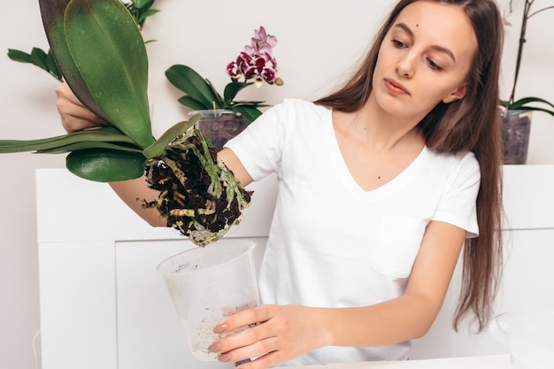 Meisje dat bloemen plant in een transparante pot