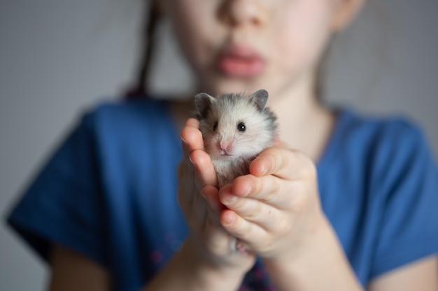 Meisje dat een hamster houdt