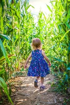 Meisje dat wegloopt in het maïsveld