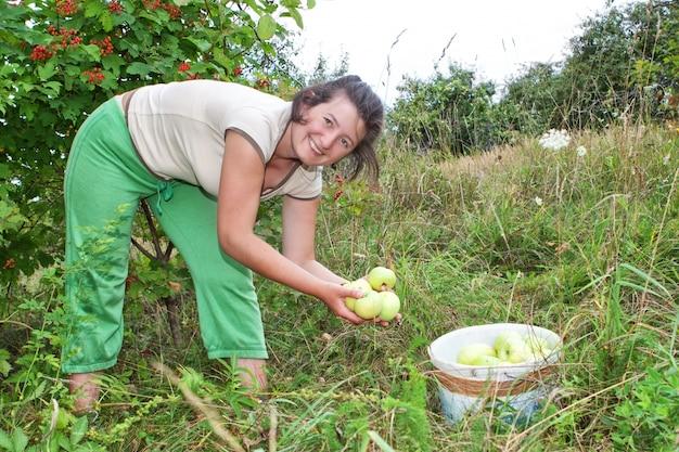 Meisje in de tuin appels plukken