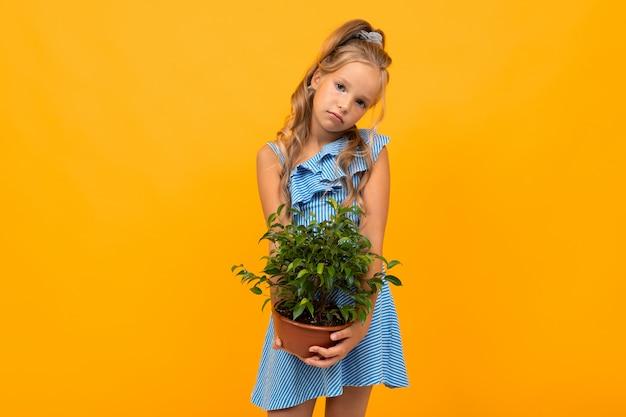Meisje in een jurk met een potplant op een oranje muur