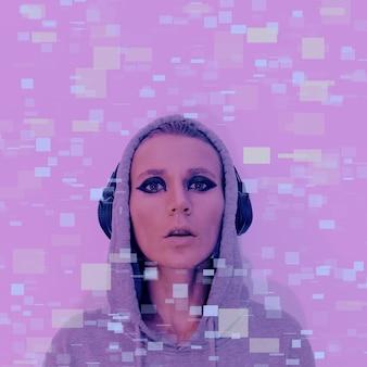 Meisje in stijlvolle koptelefoon. clubbing dj vibes hedendaagse glitch-kunst