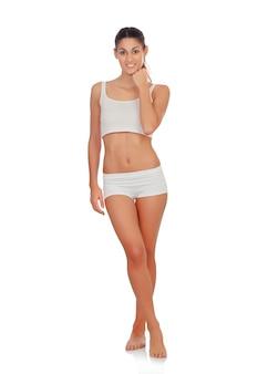 Meisje in wit ondergoed